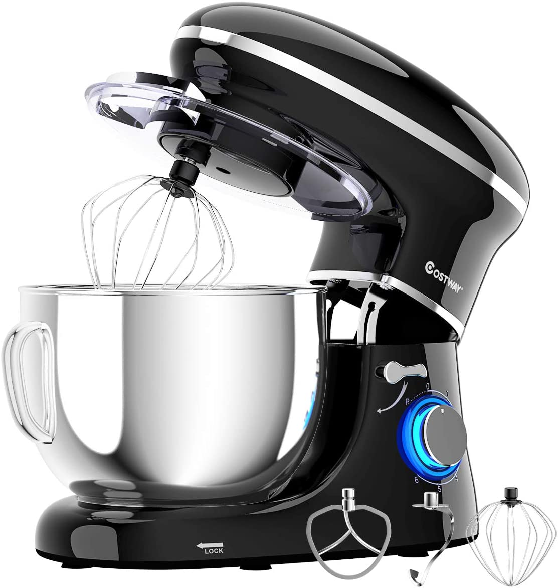 COSTWAY Stand Mixer, 660W Electric Kitchen Food Mixer with 6-Speed Control, 6.3-Quart Stainless Steel Bowl, Dough Hook, Beater, Whisk (Black-update)