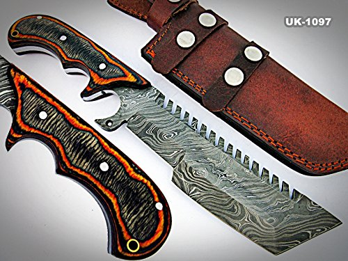 TR-1097, CUSTOM HANDMADE DEMASCUS STELL TRACKER KNIFE - TWO TONE DOLLAR SHEATH HANDLE