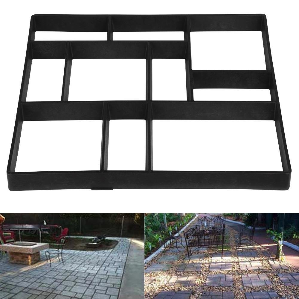 Topeakmart 1 PCS Concrete Paving Stepping Stone Mold Path Walk Maker Paver Walk Way, Rectangular Patterns with 10 grid, 23.8'' x 19.9'' x 1.7'', Black