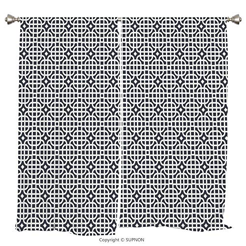 Rod Pocket Curtain Panel Thermal Insulated Blackout Curtains for Bedroom Living Room Dorm Kitchen Cafe/2 Curtain Panels/108 x 72 Inch/Geometric,Ornamental Motifs Vertical Horizontal Stripes Squares wi - Square Panthers Pittsburgh