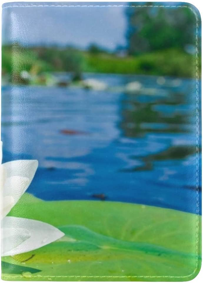JiaoL Water Lily Water Drops Smooth Light Leather Passport Holder Cover Case Travel One Pocket