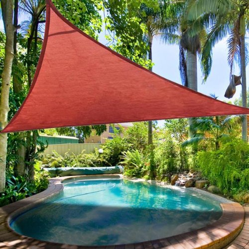 16½' Dk. Red Polyethylene Fabric Triangle Outdoor Sun Shade Sail Canopy w/ Ropes Carabiners Carry Bag UV Block Top Patio Lawn Yard Garden 6.5 Degrees Celsius Cooler
