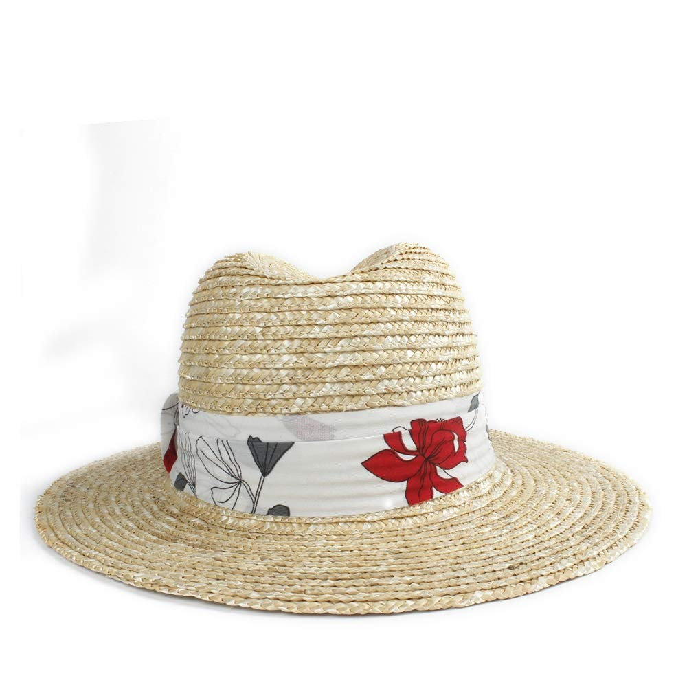 Hats Sun Hat Men Women Straw Hat Jazz Hat with Dough Cloth Flat Winged Beach Cap UC Visor Panama Sunscreen Hat Sunscreen