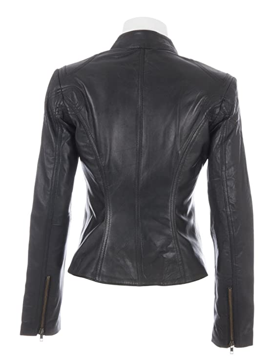 MDK Womens Super Soft Ladies Real Leather Stylish Fitted Biker Jacket at Amazon Womens Coats Shop