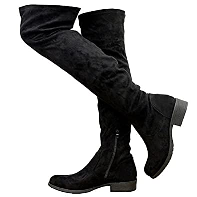 8580f6062eef Ladies Women Over The Knee Thigh High Flat Low Mid Block Heel Stretch Boots  Black Suede
