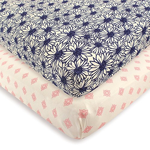 Touched by Nature Baby Girls Organic Fitted Crib Sheets 2 Pack Daisy