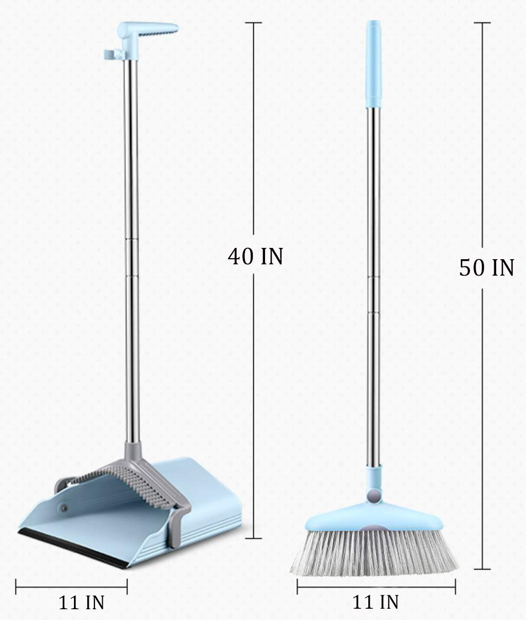 Dust Pan Sweep Set and Broom/Dustpan Cleans Broom Combo with Long Handle Broom Organizer for Home Kitchen Room Office Lobby Floor Use Upright Stand up Dustpan Broom Set by YOUSHANGJIA (Image #5)