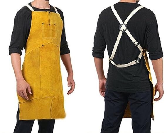 Delantal de piel Ropa de soldador Soldadura de trabajo Proteccion Seguridad Con Bolsillo Chaleco soldador: Amazon.es: Hogar