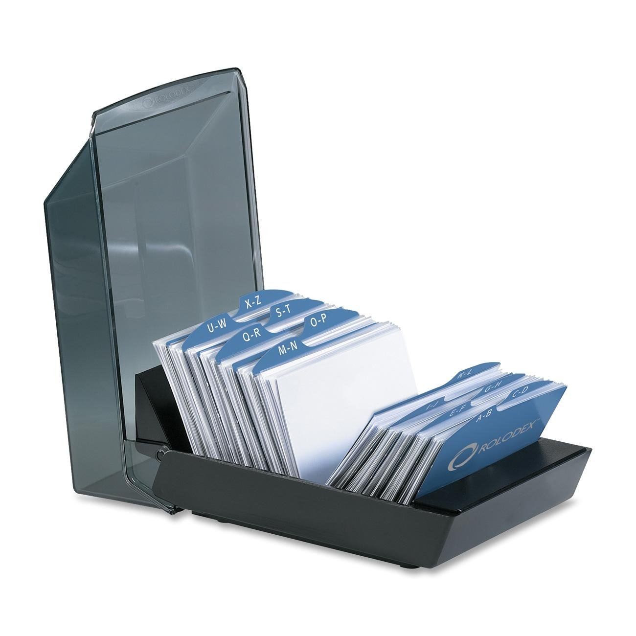 Rolodex 67208 Rolodex Covered Tray Business Card File, 100 Sleeves, 200-Card Capacity, BK/SKE