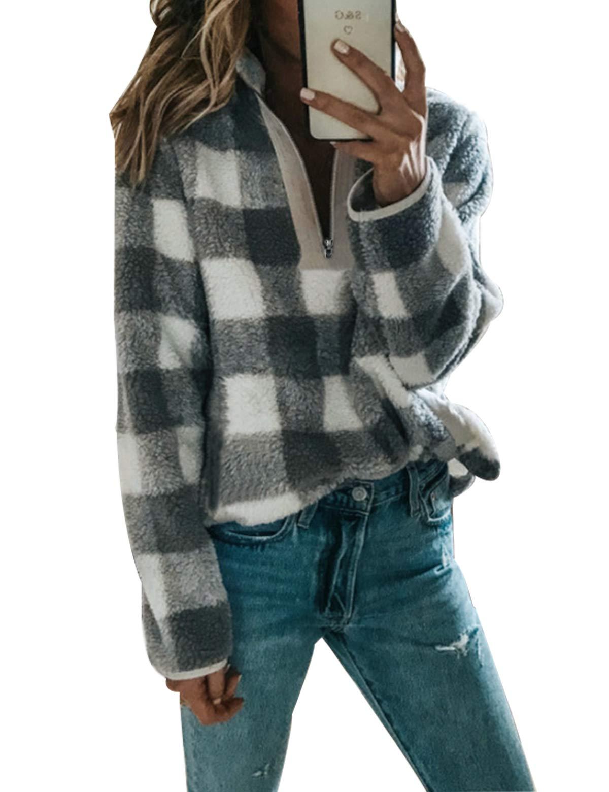 58dd72267624b9 CXINS Women Plaid Long Sleeve Zipper Sherpa Sweatshirt Soft Fleece Pullover  Outwear Coat Size S Grey and White
