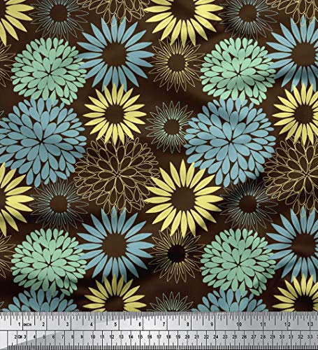 (Soimoi Brown Cotton Voile Fabric Artistic Flower Mandala Print Sewing Fabric BTY 42 Inch Wide)