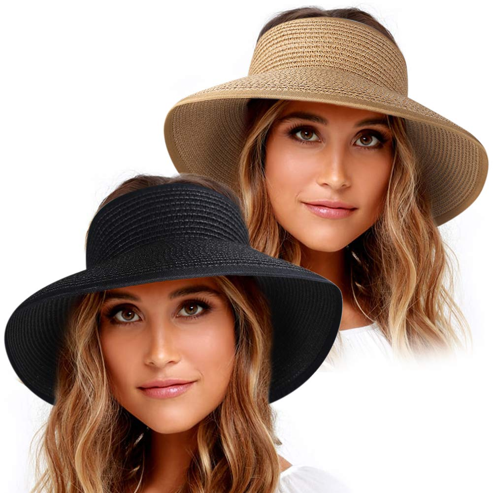 Roll Up Sun Visor Wide Brim Straw Hats for Women Ponytail Summer Beach Hat UV UPF 50 Travel Foldable Packable FURTALK (One Size, Khaki Black)