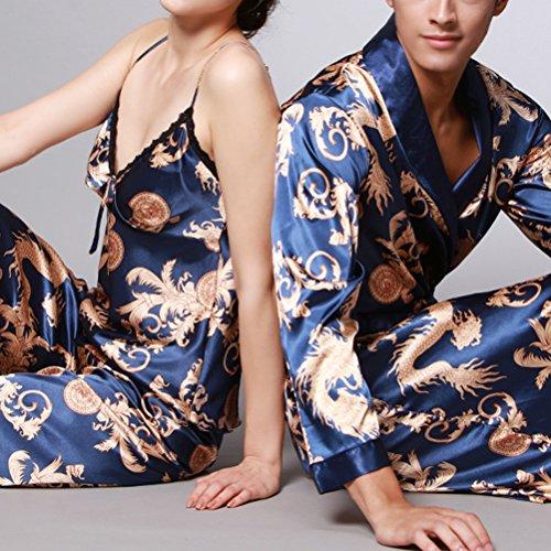 Zhhlaixing Lovers Comfortable Long sleeves Pajamas Nightgown Silk Sleepwear Royal blue&Gold