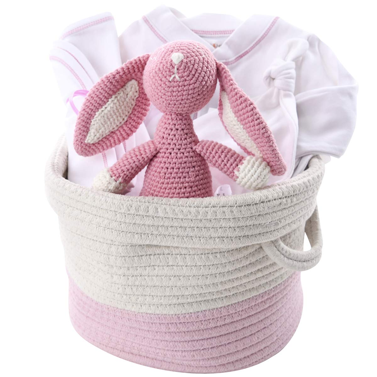 Organic Baby Girl Gift Basket - Pink Bunny Layette in Cotton Tote