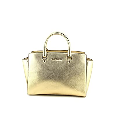 73332fb6ea50 Amazon.com: Michael Kors Selma Large Top Zip Satchel in Pale Gold Metallic  Gold Leather: Shoes