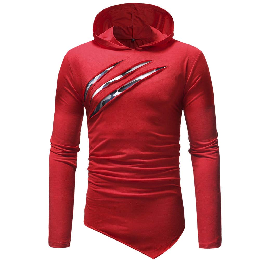 Hoodies Sweatshirts Men Pure Color Hoodie Sport Long Sleeve Blouse Streetwear Hip Hop Hoodie Sweatshirt Male,Red,XL,China