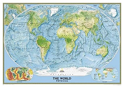 Amazon Com World Physical Wall Map Map Type Standard Size