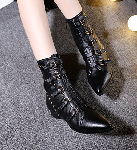 with tip bottom leather flat booties 90160CM NSXZ rivets B Winter boots w1Yn5qEnSx