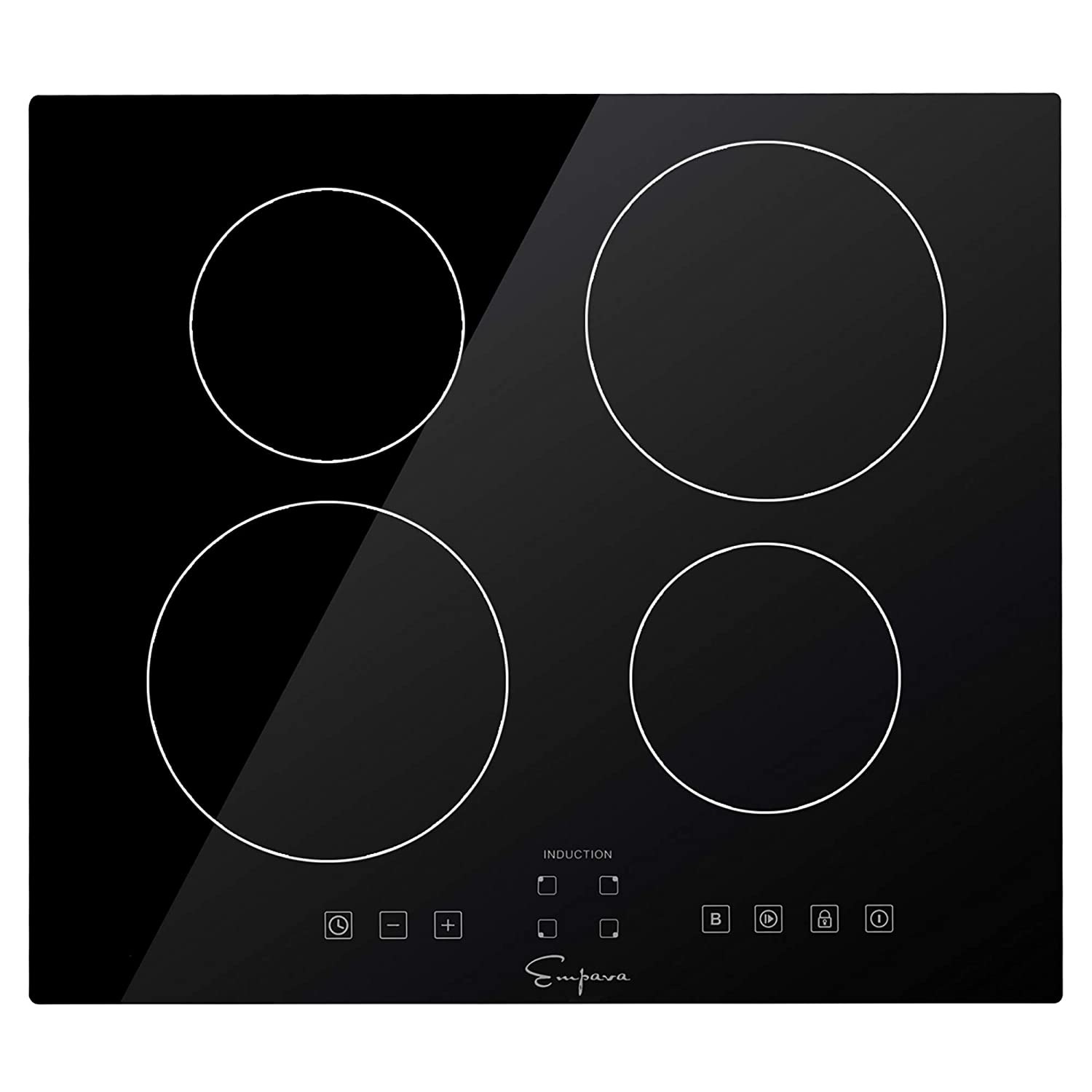 "Empava IDCX24 24"" Electric Stove Induction Cooktop with 4 Power Boost Burners Smooth Surface Vitro Ceramic Glass 240V, 24 Inch, Black"