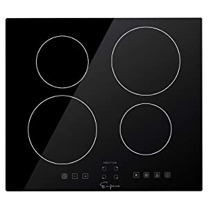 """Empava IDCX24 24"""" Electric Stove Induction Cooktop with 4 Power Boost Burners Smooth Surface Vitro Ceramic Glass 240V, 24 Inch, Black"""