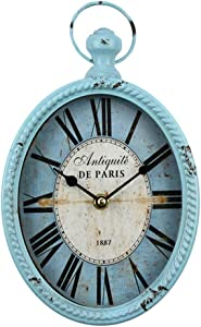 fzYRY Blue 12 Inch Wall Clock European Retro Design Oval-Shaped Old-Fashioned Wall Clock Retro Craftsmanship Wall Clock Suitable for Public Areas in Living Room Kitchen Office Space Wall Clock