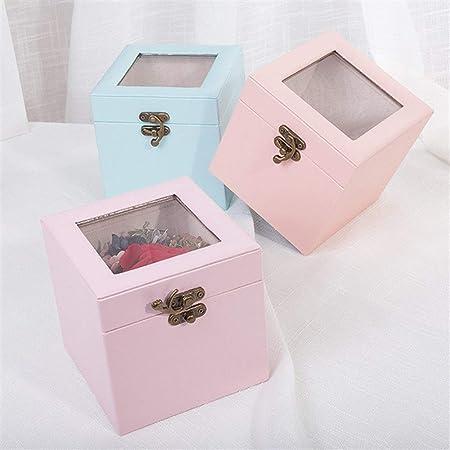 GXF Caja de Flores de Color sólido Cubierta de Vidrio Caja de Regalo Hermosa Caja de joyería Caja de Almacenamiento (Color : Pale Pink): Amazon.es: Hogar