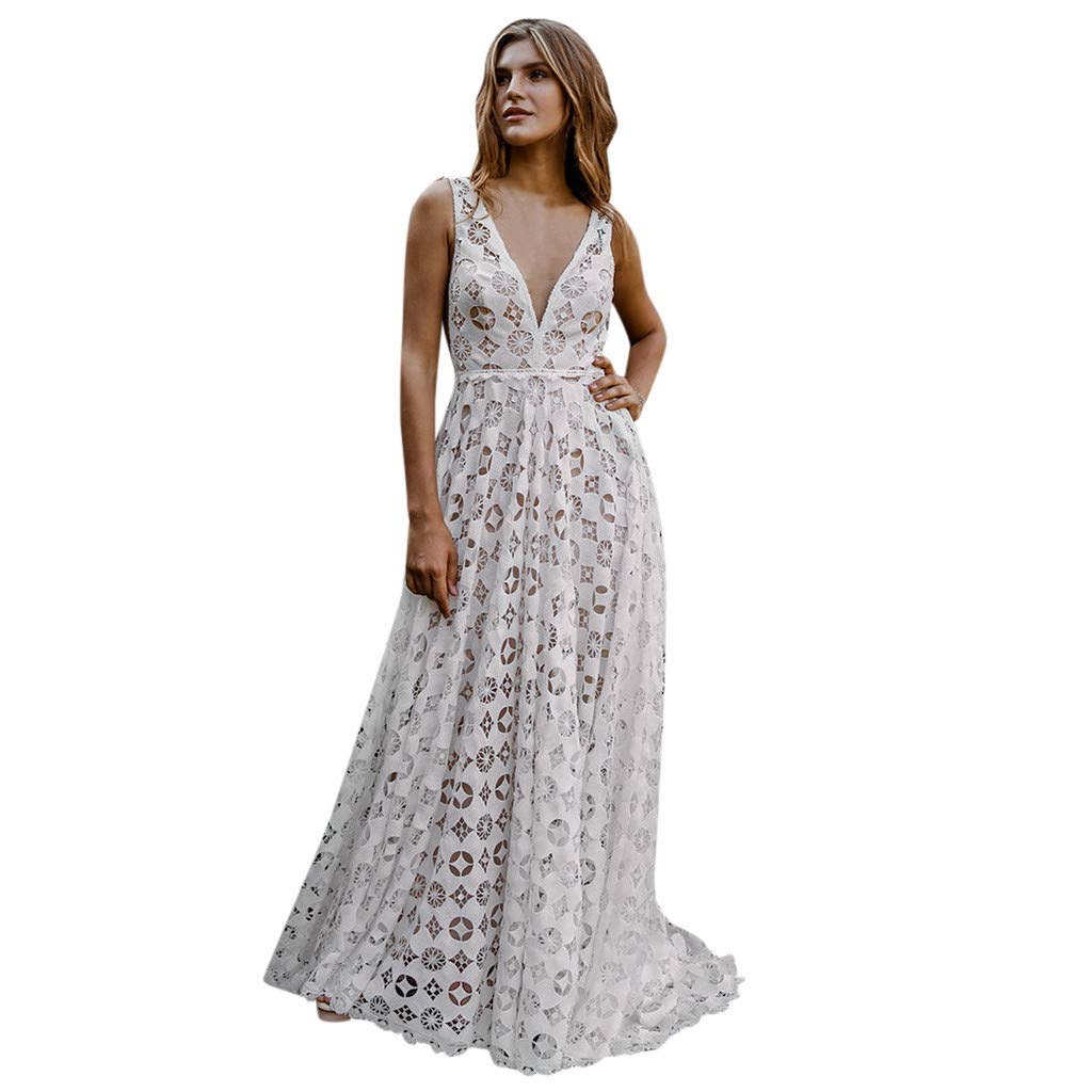 Mini Dress for Women Sexy Fashion Sexy Leisure Sleeveless V-Neck Pure Lace Splicing Print Dress White L by XZDCDJ