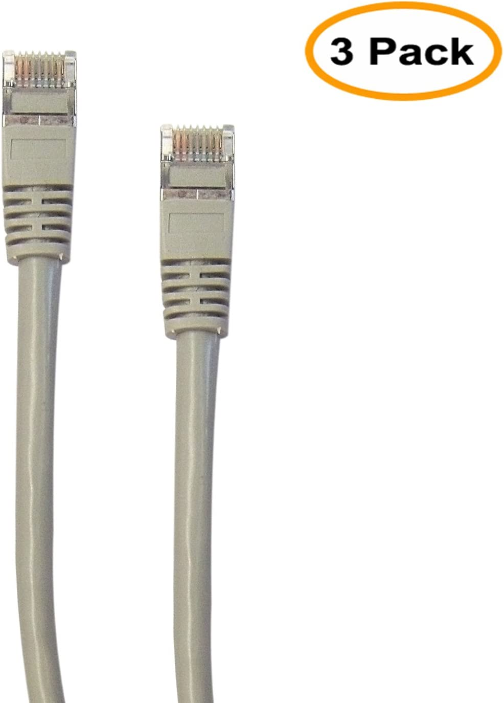 Shielded Cat5e Networking Ethernet Patch Cable 14 FT 14 Feet//4.2 Meters 3 Pack 350Mhz, 4.2M Cat 5e Snagless Molded Boot Cable for PC // Router // PS4 // XBOX // Modem Gray ED696726