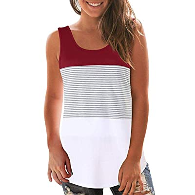 KYLEON Tops for Women Summer U-Neck Tank Tops Sleeveless Color Block Stripe Blouse Casual Tee Loose Fit Vest: Sports & Outdoors
