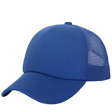 e116c4abcf1d4 Unisex Snapback Baseball Cap Trucker Mesh Blank Curved Visor Hat Plain  Color New (Deep Blue): Amazon.co.uk: Clothing