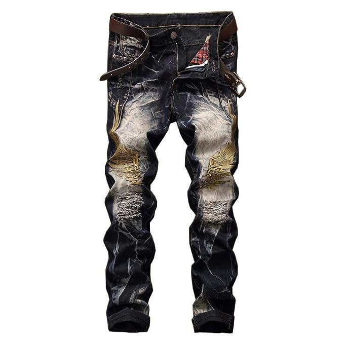Pantalones Vaqueros del Dril De Algodón Cintura Slim Fit De ...
