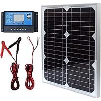 20 W 12 V Paneles Solares Kit de panel solar monocristalino Off Grid sistema para casas RV Barco con 10A Solar Control…