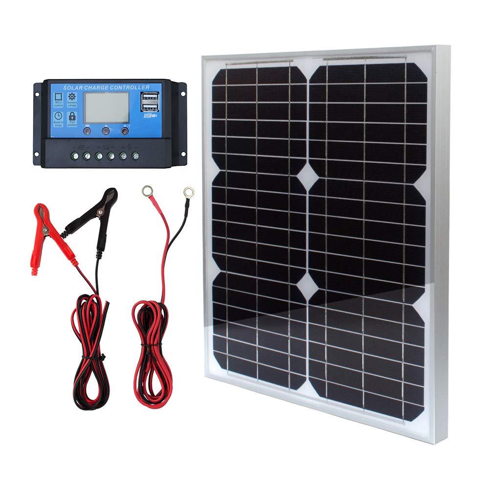 20 W 12 V Paneles Solares Kit de panel solar monocristalino Off Grid sistema para casas RV Barco con 10A Solar Control de carga cables solares