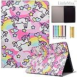 iPad 9.7 2017 Case,LittleMax(TM) Lightweight PU Leather Auto Wake/Sleep Flip Stand Case Smart Shell Magnetic Closure Cover for Apple iPad 9.7 Retina Tablet- 01 Rainbow Unicorn