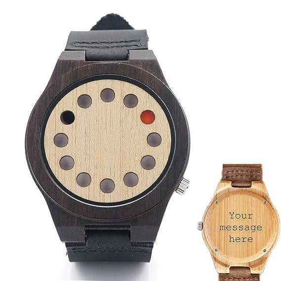 Custom personalizado grabado hecho a mano reloj de madera de bambú con suave de banda Janpanese movimiento analógico de cuarzo reloj de pulsera, ...