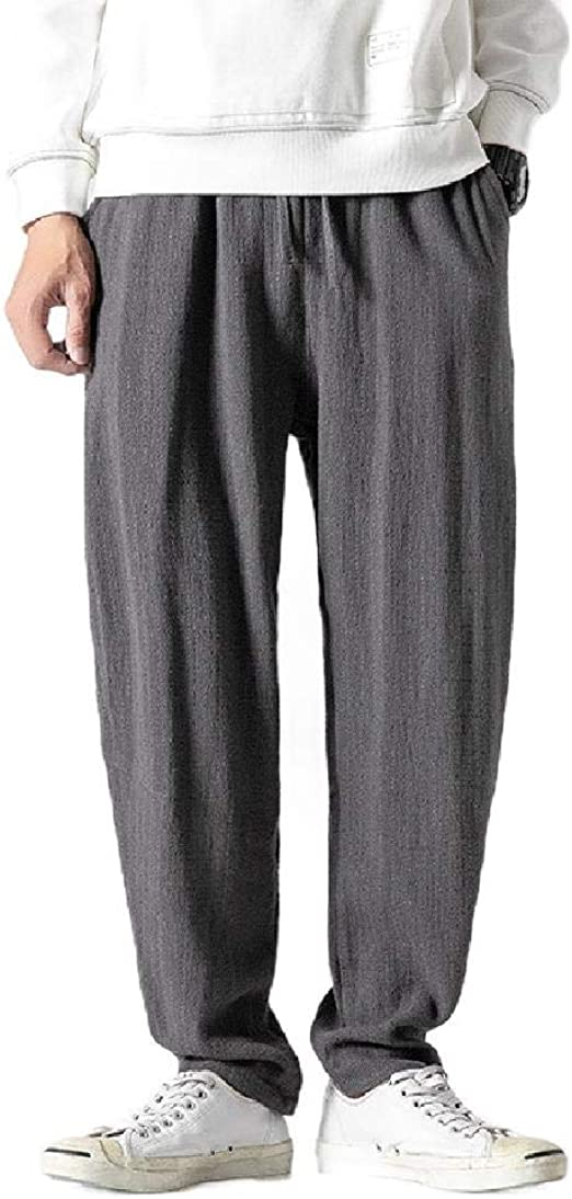 EnergyWD Mens Vintage Casual Loose Pocket Chinese Style Lounge Trousers