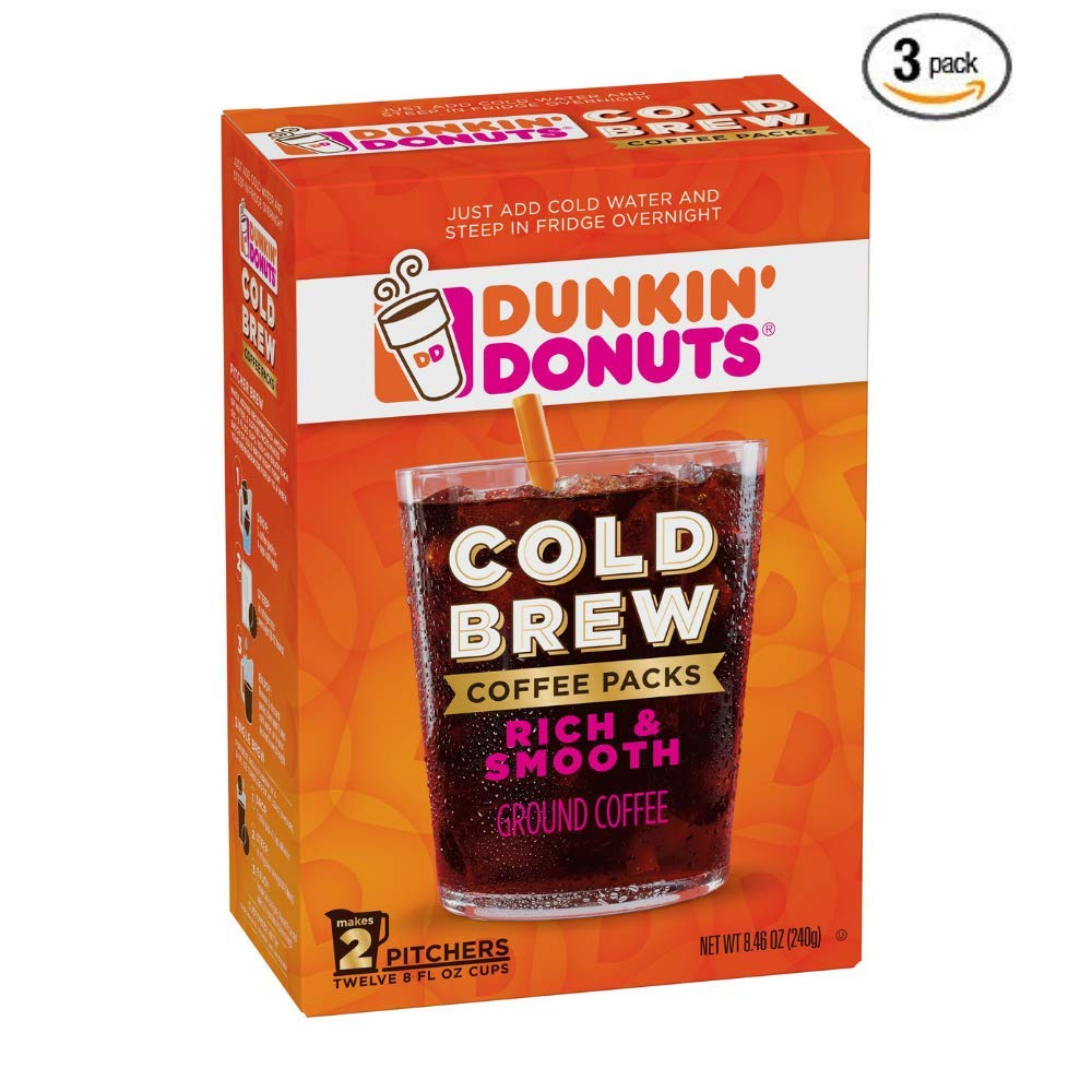 Dunkin' Donuts Cold Brew Coffee Packs, Smooth & Rich Ground Coffee,8.46 Ounce (3 PACK)