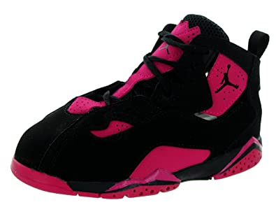 a996b5ee3dcb0 Jordan Nike Kids True Flight Gt Black/Black/Sport Fuchsia Basketball Shoe 8  Infants US
