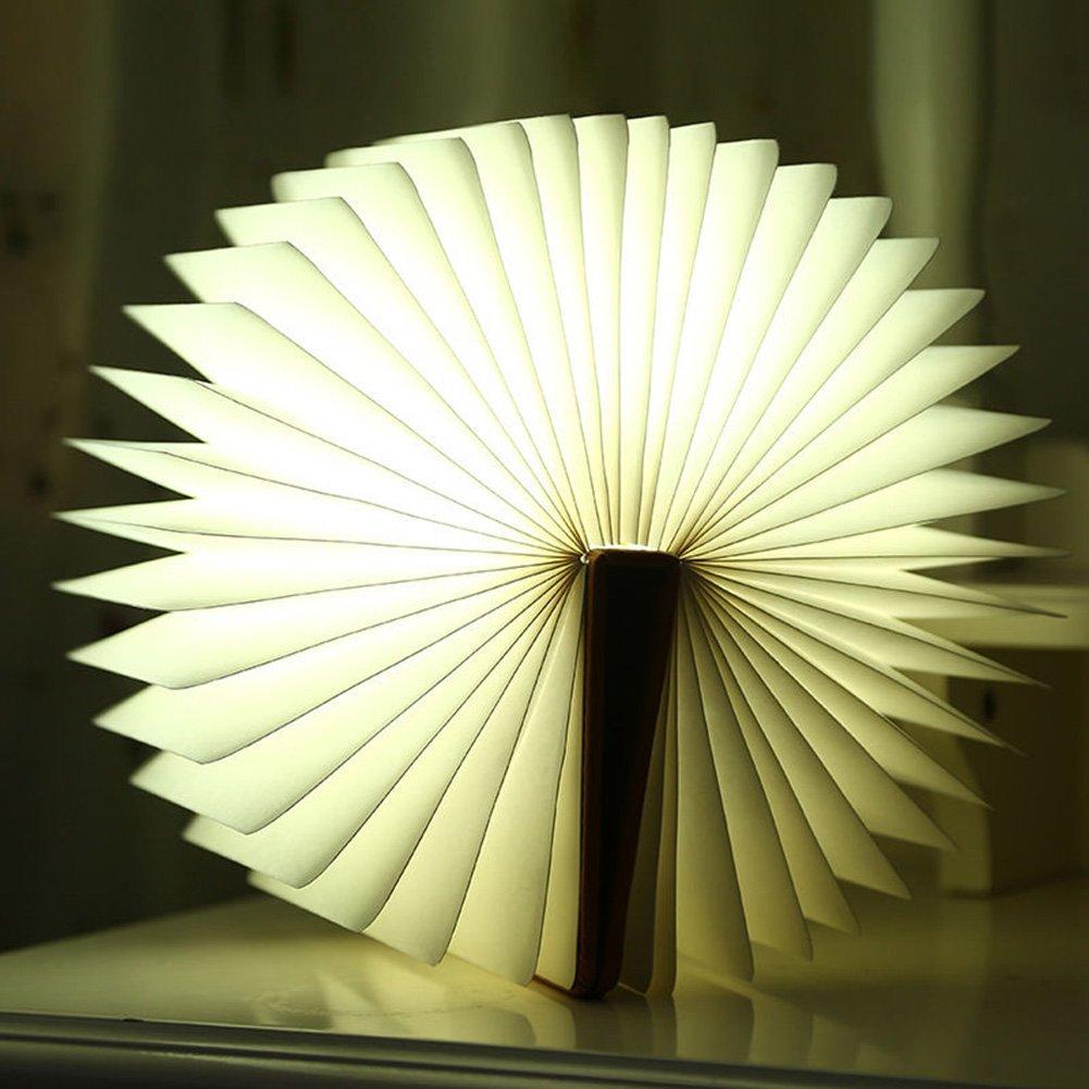 heaven2017 Creative Folding LED Nightlight Book Led Light, LED Folding Book Lamp,Art Light,Decorative Lights,Desk/Wall Magnetic Lamp (Brown)