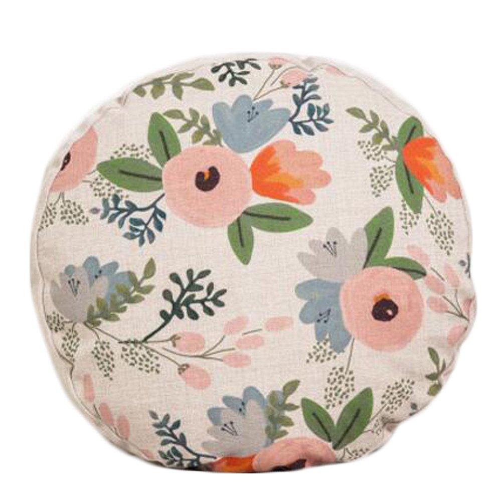 Amazon.com: Estilo rústico patrón de flor sofá cojín redondo ...