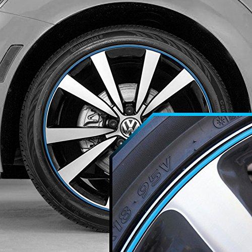 Black 20' Rims (Volkswagen Beetle Wheel Bands Sky Blue in Black Pinstripe Trim for 13-22' Rims)