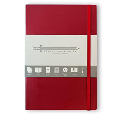 "Red Journal with Ruled Pages: DIY Table of Contents, 185 Numbered Pages, Archival Stickers, Premium Paper 5.75"" x 8.25"", Pocket, Bookmark. Perfect Bible Journal or Diary.: Office Products"
