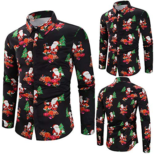 NUWFOR Men Casual Snowflakes Santa Candy Printed Christmas Shirt Top Blouse(Black,US:M Chest35.3) by NUWFOR (Image #1)