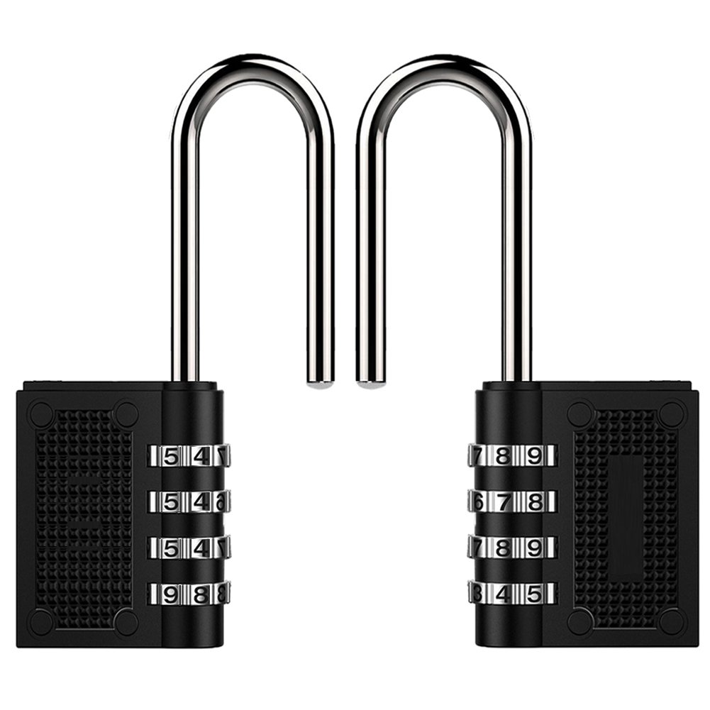 Toolbox, Shed 4 Digit Long Combination Padlocks Outdoor Black, 2 Pack Garden Gate Digits Resettable Extra Long Shackle Combination Padlocks Heavy Duty for Gym School Employee Lockers Fence