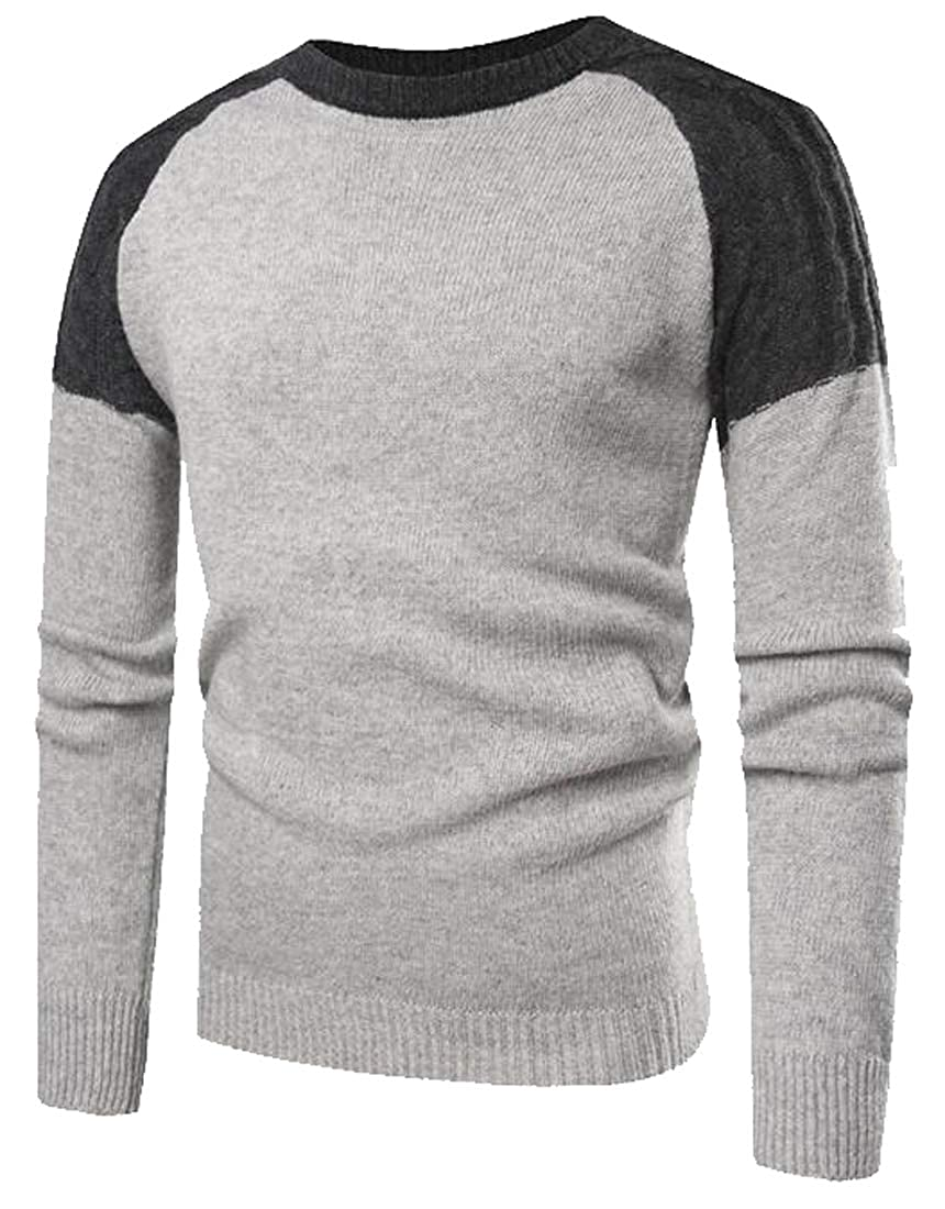 Jofemuho Men Knitted Contrast Round Neck Slim Pullover Sweater Jumper Top