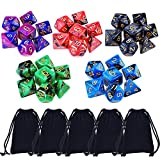 eBoot 35 Pieces Polyhedral Dice Double-Colors Polyhedral Game Dice for RPG Dungeons and Dragons Pathfinder with 5 Pack Black Pouches, 5 Sets of d20, d12, 2 d10 (00-90 and 0-9), d8, d6 and d4
