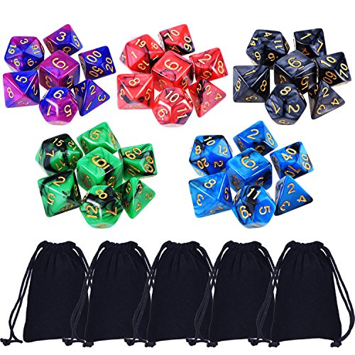 eBoot 35 Pieces Polyhedral Dice Double-Colors Polyhedral Game Dice for RPG Dungeons and Dragons Pathfinder with 5 Pack Black Pouches, 5 Sets of d20, d12, 2 d10 (00-90 and 0-9), d8, d6 and d4 (Sets Dice D20)
