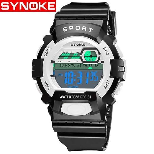 HWCOO Relojes De Pulsera SYNOKE Reloj electrónico Impermeable Reloj Deportivo de múltiples Funciones Reloj de la Escuela Primaria Reloj Digital 9358 (Color ...
