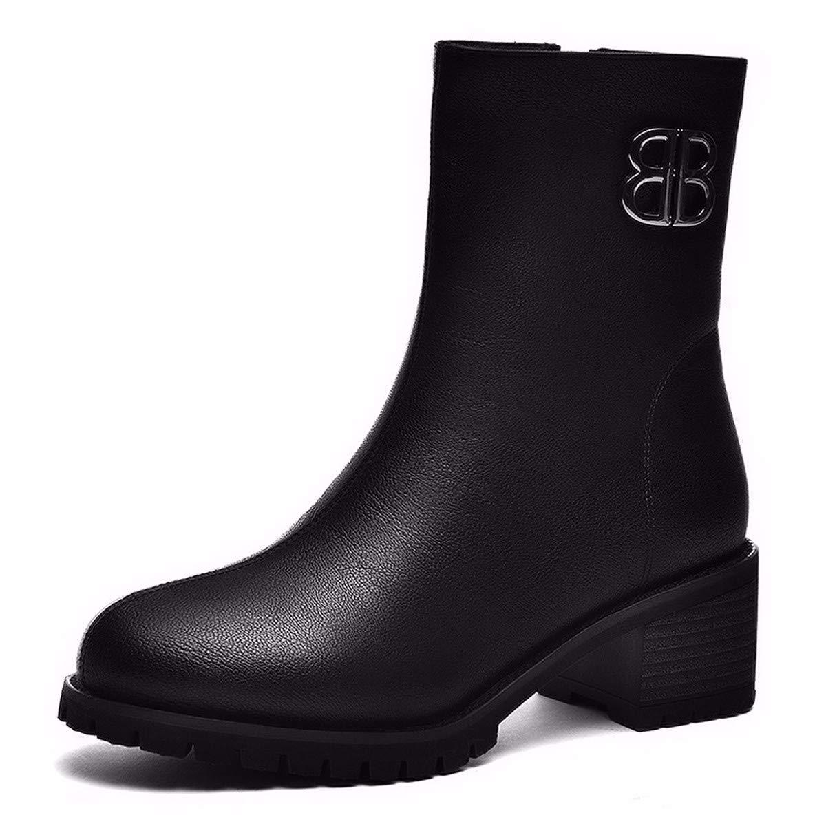 GTVERNH Frauen Schuhe Grobe Betuchte Stiefel Herbst Und Winter Reißverschlüsse Kurze Läufe Meine Damen Martin Stiefeln Dicken Sohlen Frauen - Stiefel