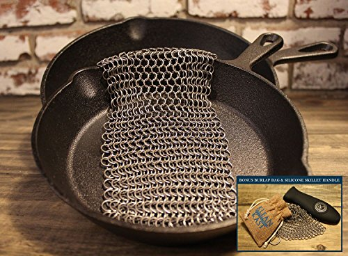 Cleaner Non Stick (Cast Iron Cleaner Scrubber Chainmail Stainless Steel for Skillets Frying Pan Cookware by Kay Signature Collection)